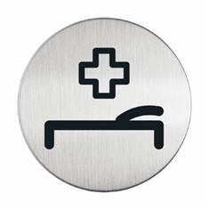 Plaque symbole Infirmerie - Alu brossé - Ø 83 mm
