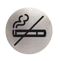 Plaque symbole Zone non fumeurs - Inox brossé - Ø 83 mm
