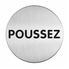 Plaque symbole Poussez - Alu brossé - Ø 65 mm