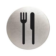 Plaque symbole Restaurant - Alu brossé - Ø 83 mm