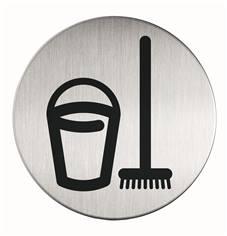 Plaque symbole Local Ménage - Alu brossé - Ø 83 mm