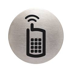Plaque symbole Téléphones autorisés - Alu brossé - Ø 83 mm