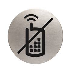 Plaque symbole Téléphones portables interdits - Alu brossé - Ø 83 mm