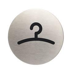 Plaque symbole Vestiaire - Alu brossé - Ø 83 mm