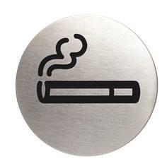 Plaque symbole Zone fumeurs - Alu brossé - Ø 83 mm
