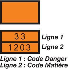 Plaque d´identification Tansport routier Produits dangereux - H 300 x L 400 mm