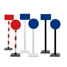 Poteau mobile en PVC avec panneau personnalisé sur socle