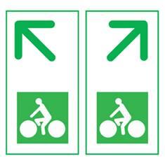 Panneau de présignalisation des carrefours pour pistes cyclables - flèche oblique Dv43d