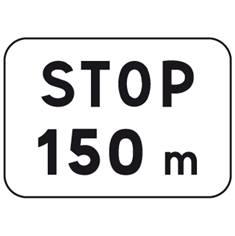 Panonceau Stop + distance - M5a pour panneau AB3a