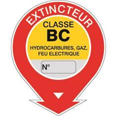 Etiquette extincteur classe BC STF 568