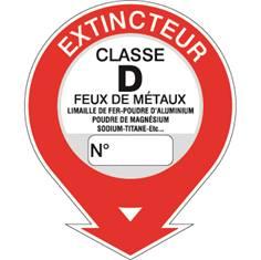Etiquettes extincteur classe D STF 581