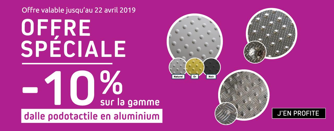 Dalles podotactiles aluminium 10%